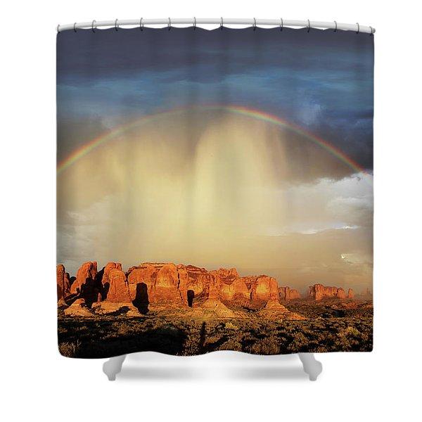 Rainbow Over Garden Of Eden Shower Curtain