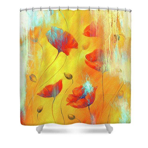 Red Poppy On Color Background. Red Poppies. Red Flower On Abstract Color Background Shower Curtain