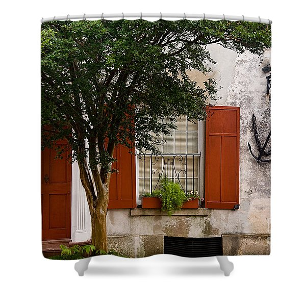 Red Shutters Shower Curtain