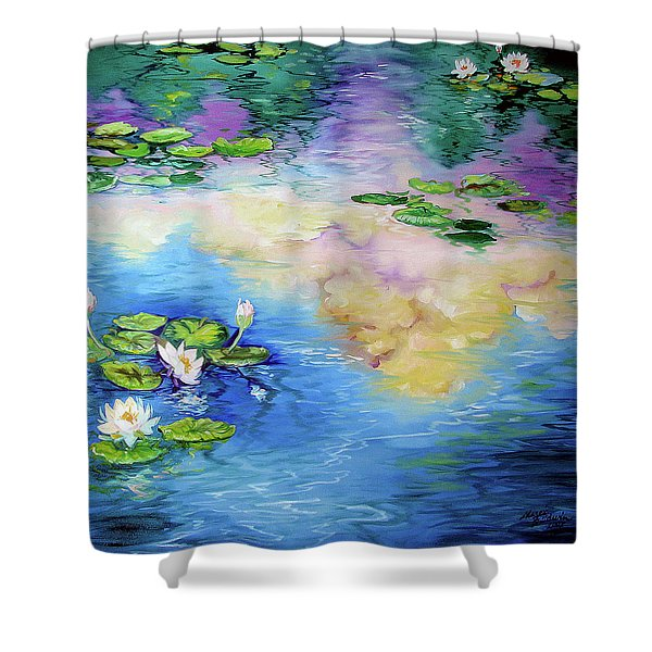 Reflections On A Waterlily Pond Shower Curtain