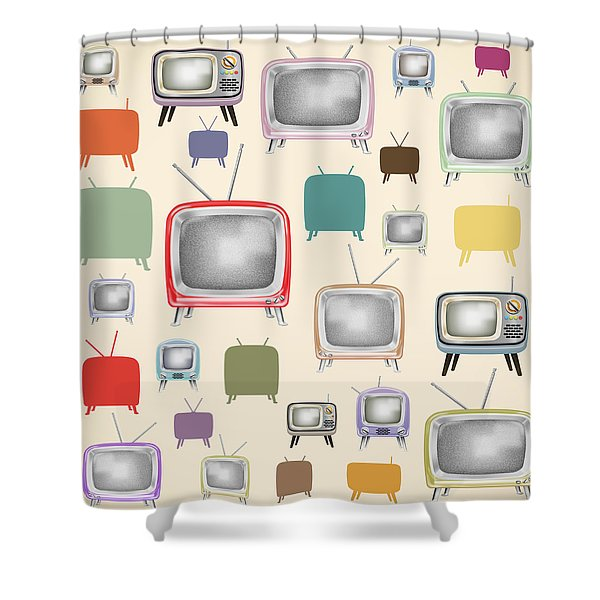 retro TV pattern  Shower Curtain