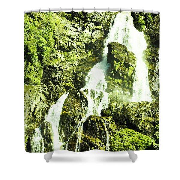 Rocky Mountain Waterfall Shower Curtain