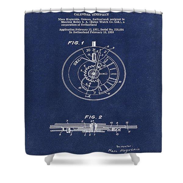 Rolex Watch Patent 1999 In Blue Shower Curtain
