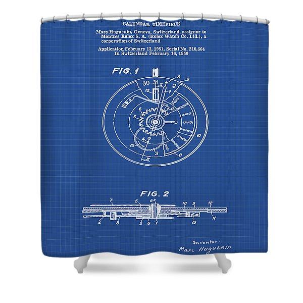 Rolex Watch Patent 1999 In Blueprint Shower Curtain
