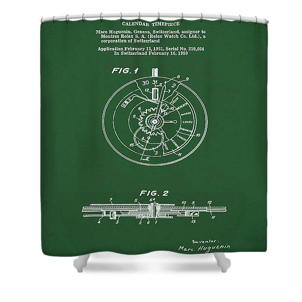 Rolex Watch Patent 1999 In Green Shower Curtain