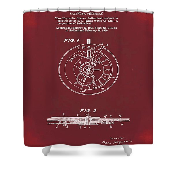 Rolex Watch Patent 1999 In Red Shower Curtain