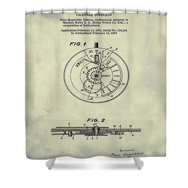 Rolex Watch Patent 1999 In Weathered Shower Curtain