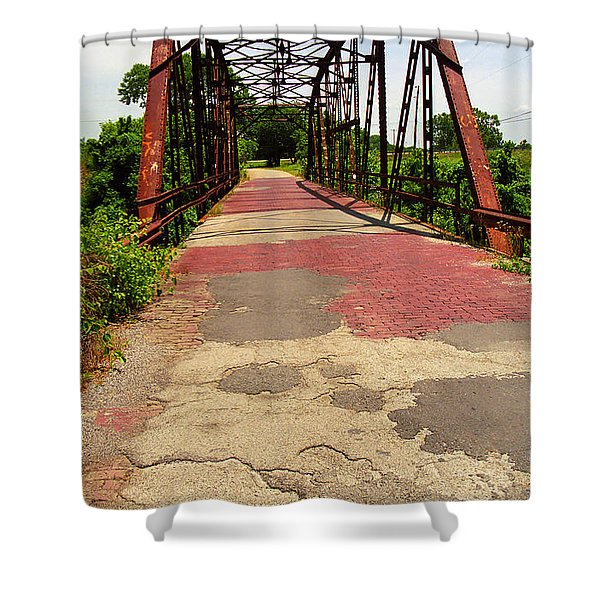 Route 66 - One Lane Bridge Shower Curtain