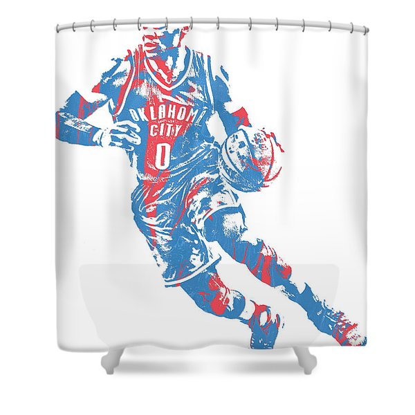 Russell Westbrook Oklahoma City Thunder Pixel Art 32 Shower Curtain