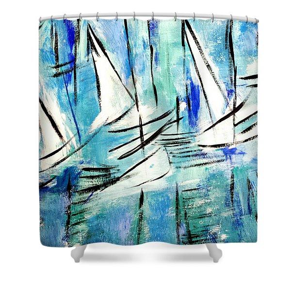 Sailing Blue Shower Curtain