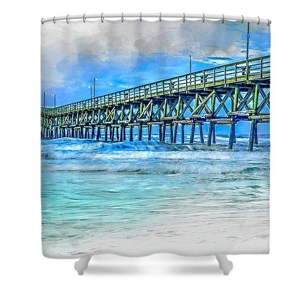Sea Blue - Cherry Grove Pier Shower Curtain