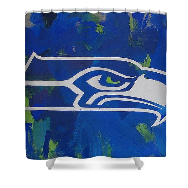 Shower Curtain featuring the painting Seahawks Fan by Candace Shrope