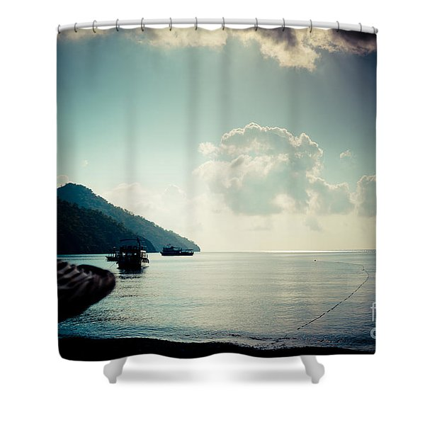 Seascape Sunrise Sea And Clouds  Shower Curtain