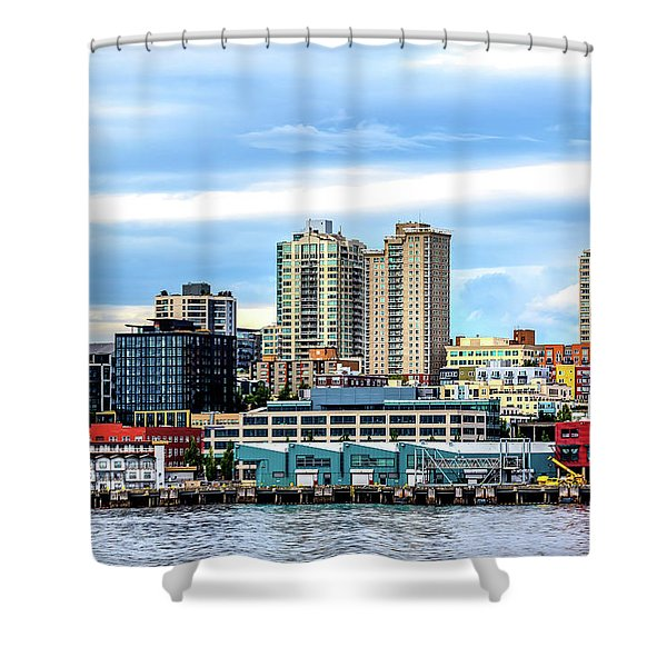 Seattle Skyline Hdr Shower Curtain