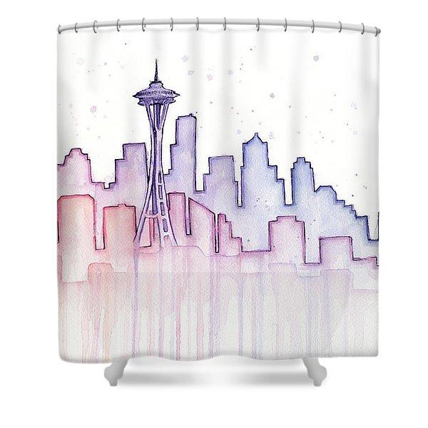 Seattle Skyline Watercolor Shower Curtain