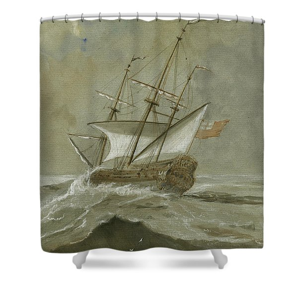 Ship At The Storm Shower Curtain