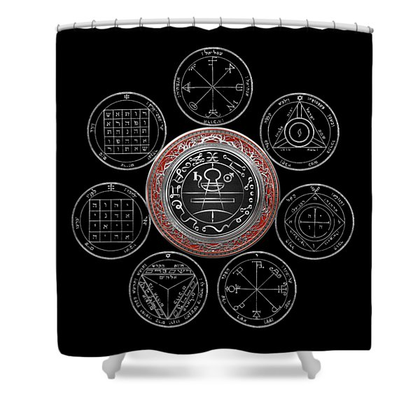 Silver Seal Of Solomon Over Seven Pentacles Of Saturn On Black Canvas  Shower Curtain