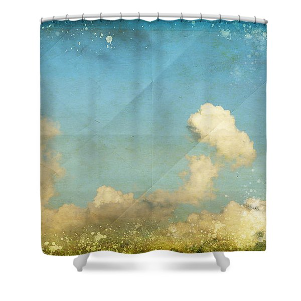 Sky And Cloud On Old Grunge Paper Shower Curtain