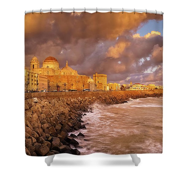Skyline From Campo Del Sur Cadiz Spain Shower Curtain
