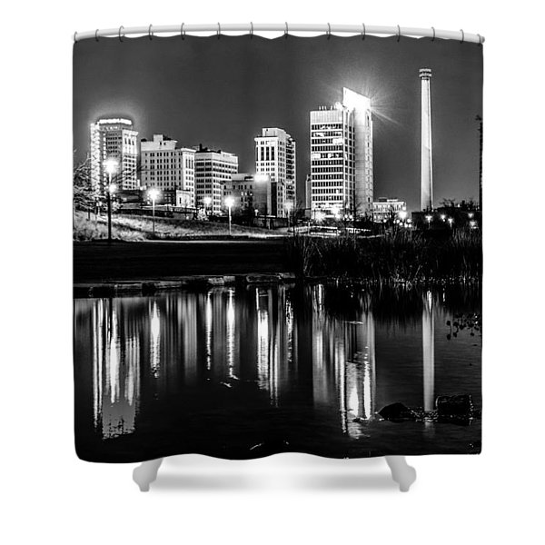 Shower Curtain featuring the photograph Skyline Of Birmingham Alabama From Railroad Park by Alex Grichenko