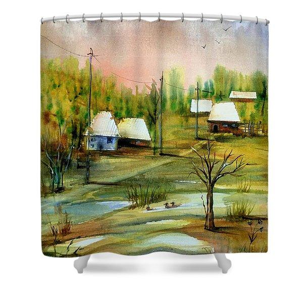 Sleepy Village Shower Curtain