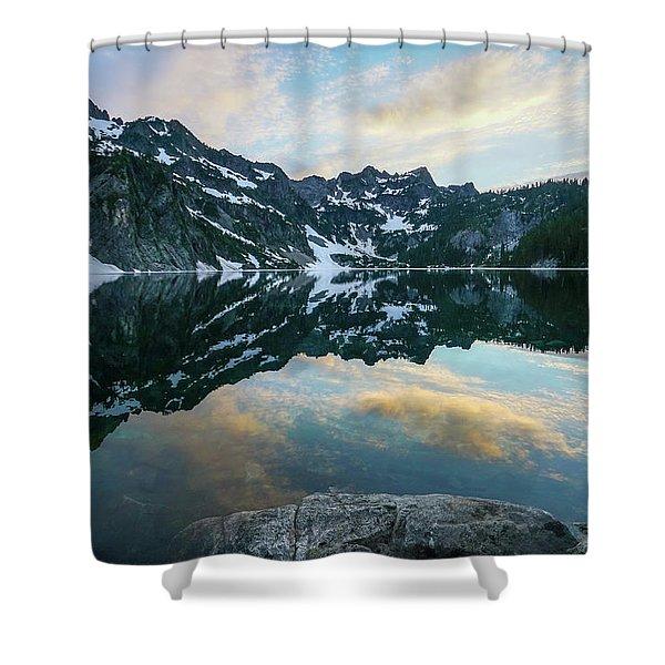 Snow Lake Chair Peak Dusk Reflection Shower Curtain