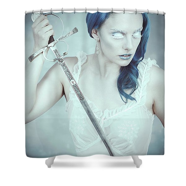 Snow Queen With Sword Shower Curtain
