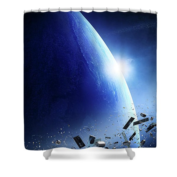 Space Junk Orbiting Earth Shower Curtain