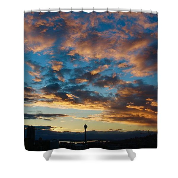 Space Needle In Clouds Shower Curtain