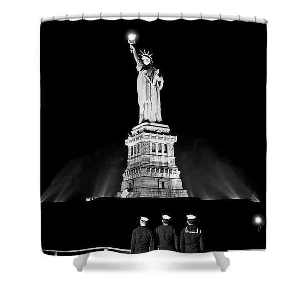 Statue Of Liberty On V E Day Shower Curtain