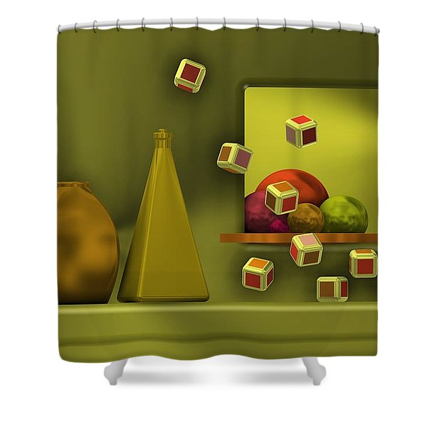 Still Life With Cubes Shower Curtain