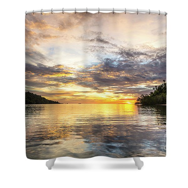 Stunning Sunset In The Togian Islands In Sulawesi Shower Curtain