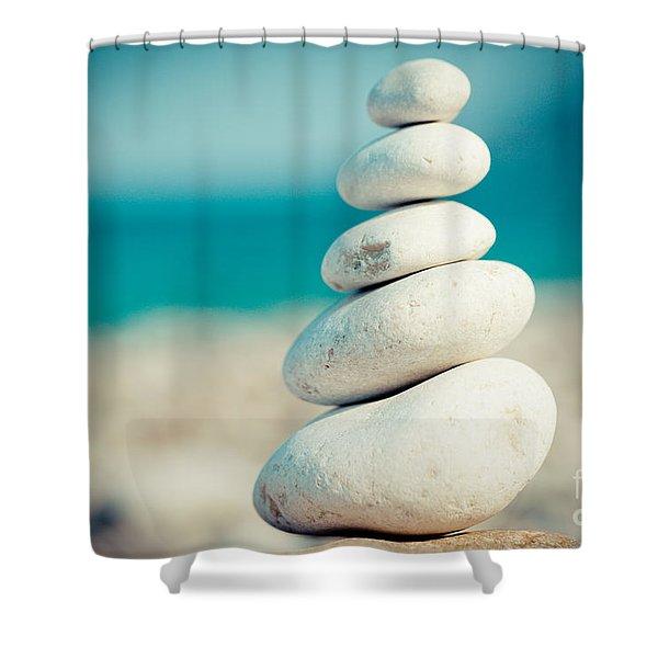 Stupa At Sea Coast Seascape Buddha Shower Curtain