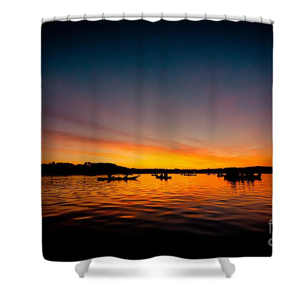 Shower Curtain featuring the photograph Sunrise Above Lake Water Summer Time by Raimond Klavins