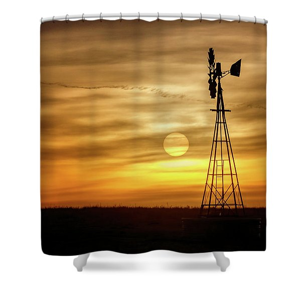 Shower Curtain featuring the photograph Sunset And Windmill by Rob Graham