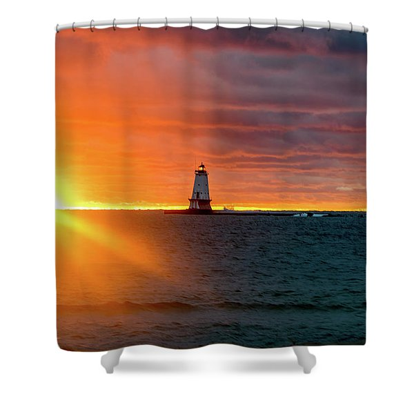 Shower Curtain featuring the photograph Sunset And Lighthouse by Lester Plank