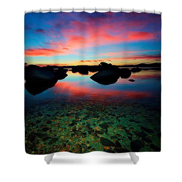 Sunset With A Whale Shower Curtain