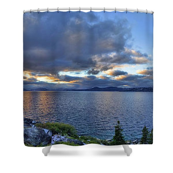 Tahoe Sunset Panorama Shower Curtain