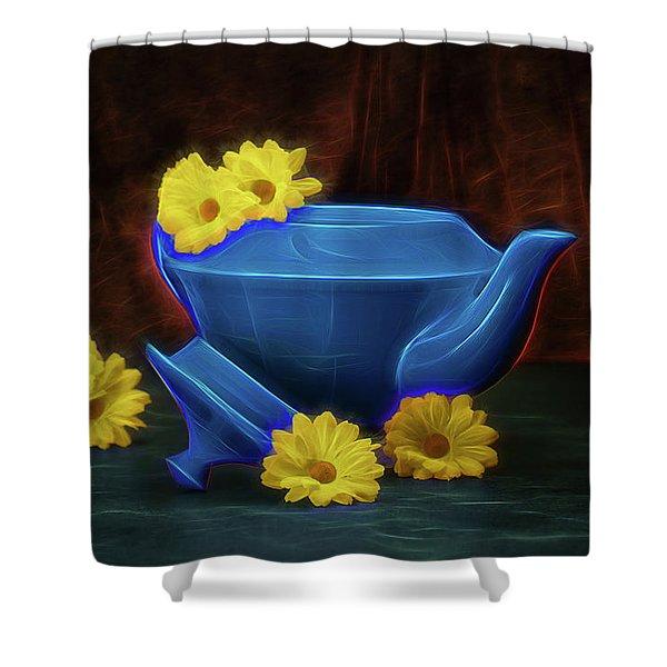 Tea Kettle With Daisies Still Life Shower Curtain