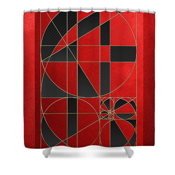 The Alchemy - Divine Proportions - Black On Red Shower Curtain