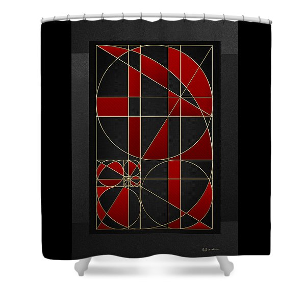 The Alchemy - Divine Proportions - Red On Black Shower Curtain