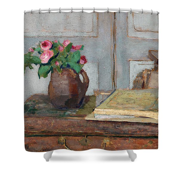 The Artist's Paint Box And Moss Roses Shower Curtain