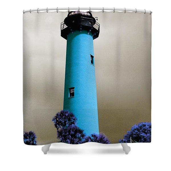 The Blue Lighthouse Shower Curtain