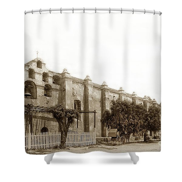 The Campanario, Or Bell Tower Of San Gabriel Mission Circa 1890 Shower Curtain
