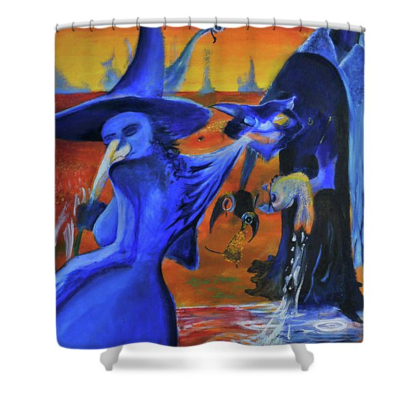 The Cat And The Witch Shower Curtain