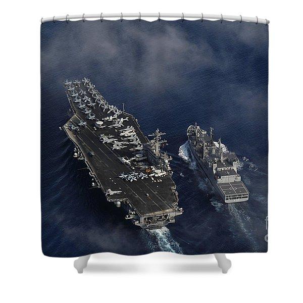 The Nimitz-class Aircraft Carrier Uss Carl Vinson Shower Curtain