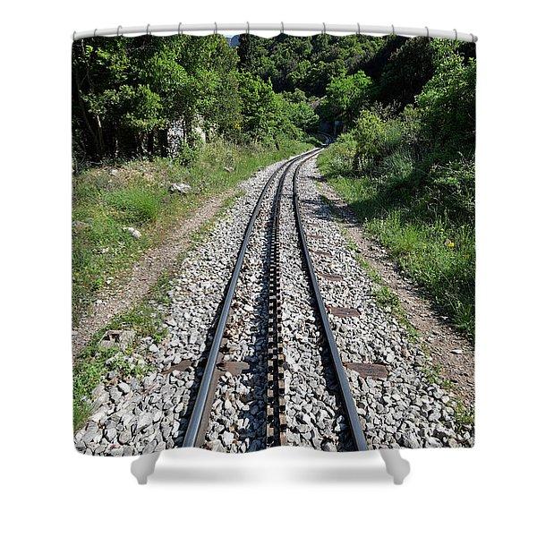 The Rack Railway In Vouraikos Gorge Shower Curtain