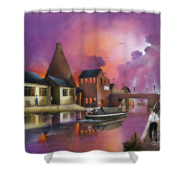 Shower Curtain featuring the painting The Red House Cone, Wordsley by Ken Wood