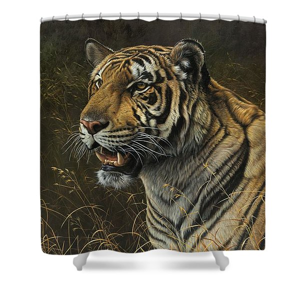 Shower Curtain featuring the painting Tiger Portrait by Alan M Hunt