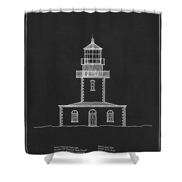 Tillamook Rock Lighthouse - Oregon  - Blueprint Drawing Shower Curtain